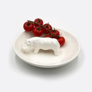 Just Jozi Hippo Round Bowl White made in South Africa.