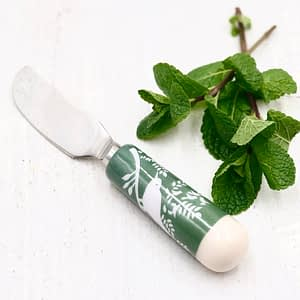 The Green Bird Spreader is a versatile spreader perfect for pates and soft cheeses.