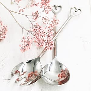 Heart Salad Servers made from high quality stainless steel perfect for salads